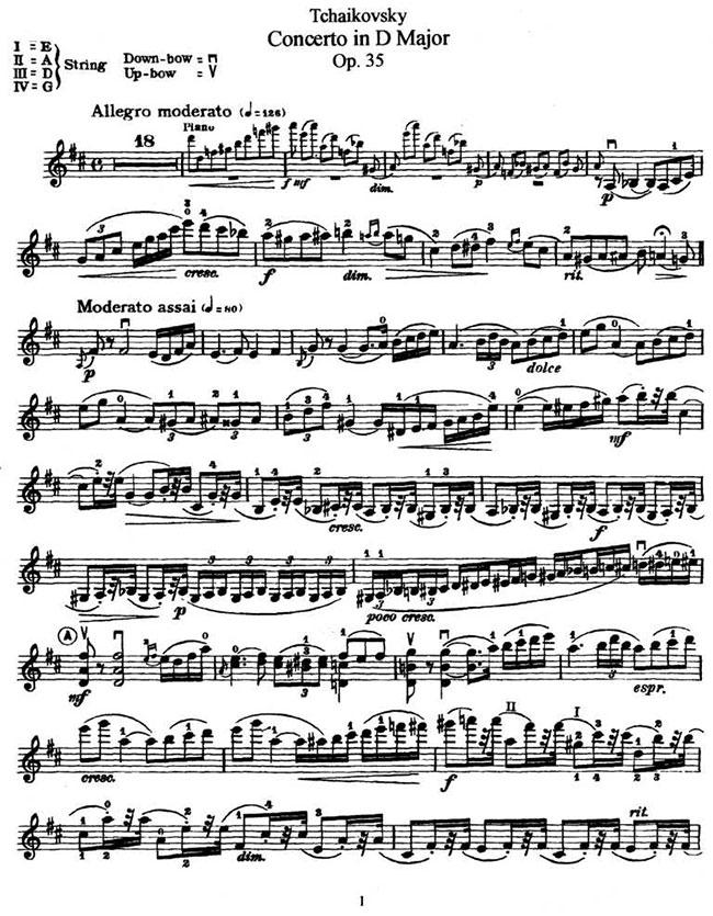 欢庆歌舞小提琴曲谱-品柴可夫斯基 D大调小提琴协奏曲