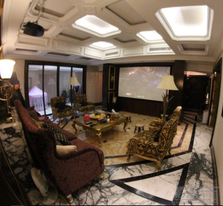 豪宅精装样板房的客厅隐形影院-大予集智万科悦府影视厅案例赏析